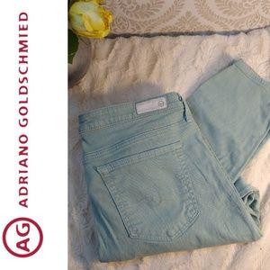AG Mint Green/Blue Stevie Ankle Jeans Size 31R